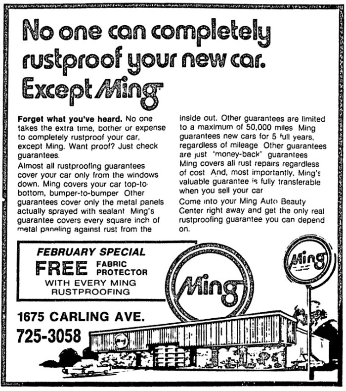 An advertisement for Ming Auto Beauty. Source: Ottawa Citizen, February 13, 1984, Page 33.