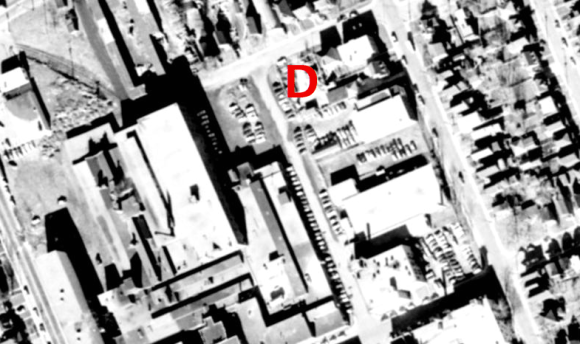 "Hintonburg's more industrial roots were showing at the time. Less so today. ""D"" is for ""development"". Image: geoOttawa, 1958 Aerial."
