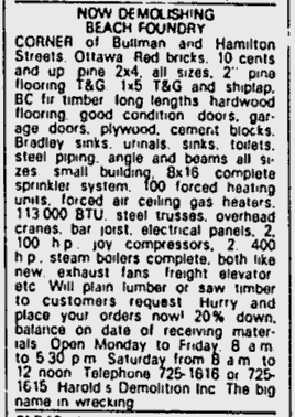 So long and thanks for all the enamel. The Beach Foundry was demolished and scrapped during the Fall of 1981. Source: Ottawa Citizen, September 15, 1981, p. 58.