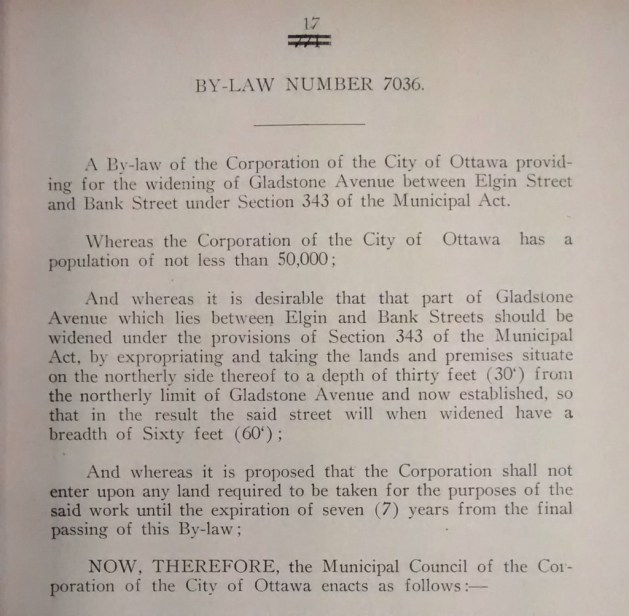 The opening to City of Ottawa Bylaw 7036 (passed January 5, 1931) Source: City of Ottawa Bylaws, 1931 (Ottawa Room, Ottawa Public Library)