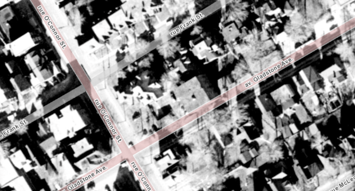 Aerial photograph of the block. The Franconna's annex is the block in the centre. Image: geoOttawa, 1958 Aerials.