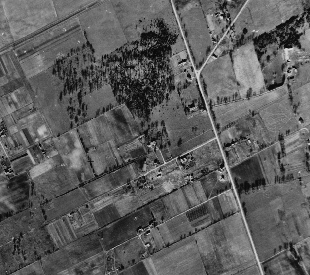 This aerial from 1945 depicts the rural nature of the area. Image: NAPL Flight A9618, Photo 96. October 30, 1945.