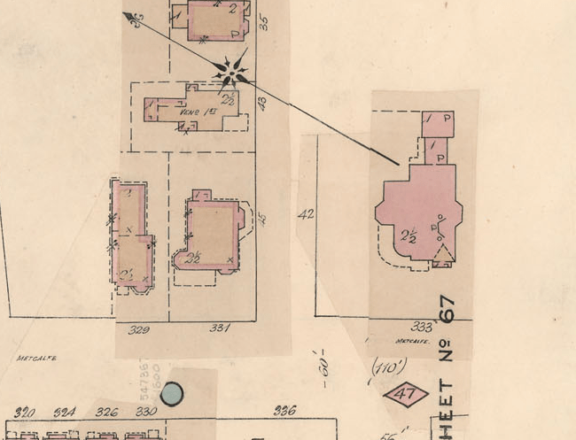 The property, as depicted in the Insurance plan of the city of Ottawa, Canada, and adjoining suburbs and lumber districts, January 1888, revised January 1901. Source: LAC R6990-293-3-E NMC13793.