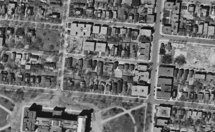 The site in 1933. Her were see the Queen Victoria, the Lasalle, Chamberlin Manor, the Bessborough, and the Glademore. Construction has yet to begin on the Trafalgar. Source: National Air Photo Library / uOttawa / A4570-61 May 5, 1933.
