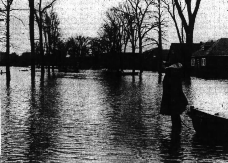 Private Thomas Fleming points out the flooding. Source: Ottawa Journal, April 12, 1947, p. 3.