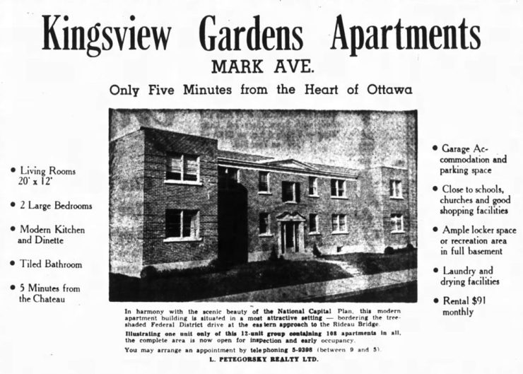 Kingsview Gardens. Source: Ottawa Journal, November 25, 1950, p. 8.