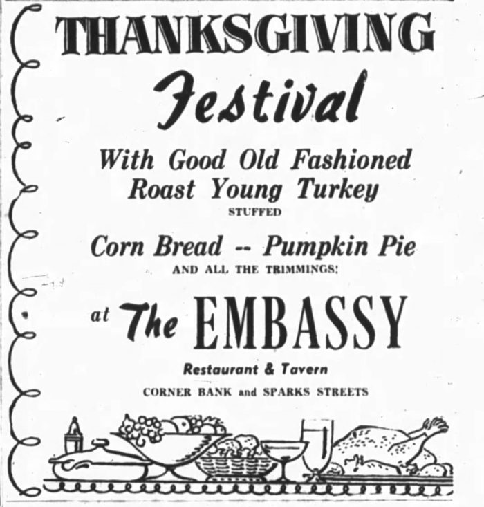 The Embassy ran the usual specials. Source: Ottawa Journal, October 10, 1953, p. 13.