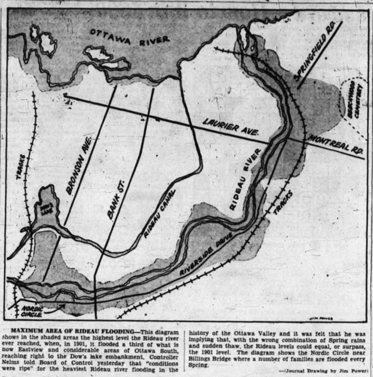 A map published in the Journal depicting the areas that tended to be threatened by spring floods. Source: Ottawa Journal, February 28, 1955, p. 3.
