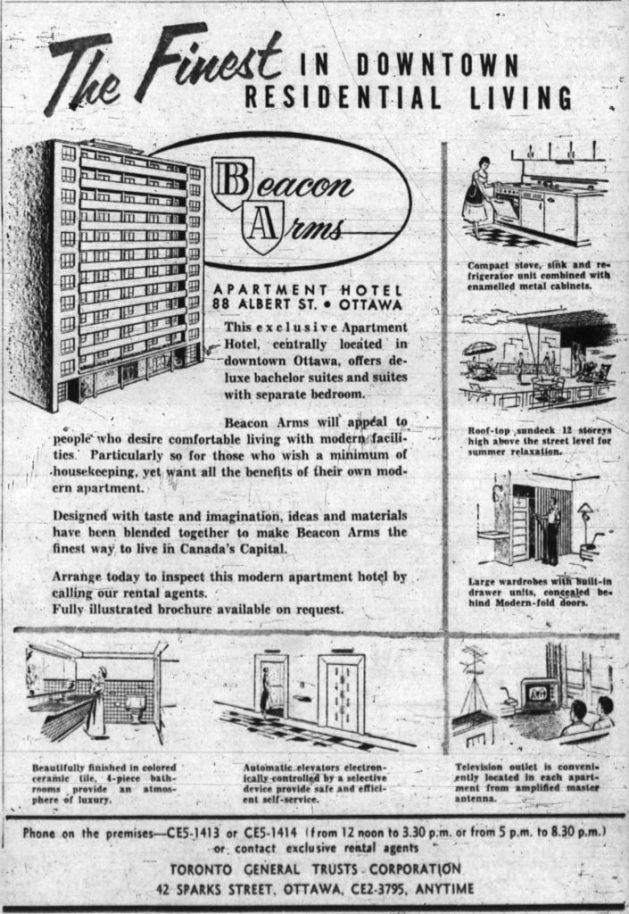 Ad for the Beacon Arms, as an Apartment-Hotel. Source: Ottawa Journal, March 18, 1956, p. 48.
