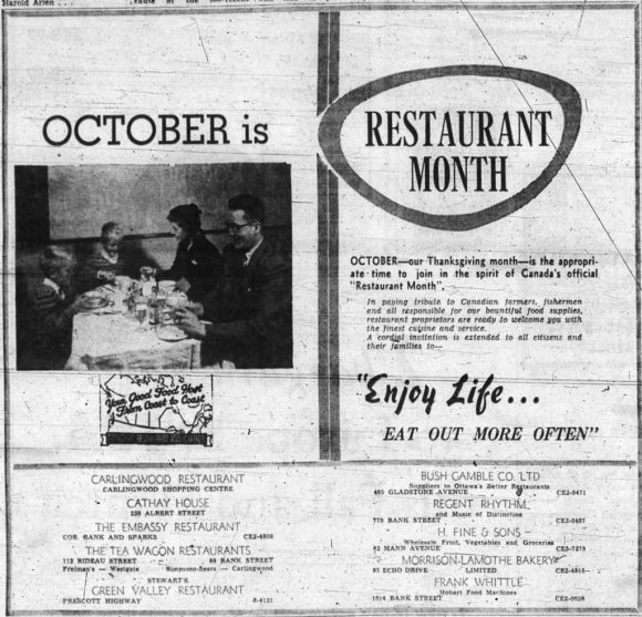 It's no accident that Andrews' Embassy Restaurant is near the top of the list. Source: Ottawa Journal, October 6, 1956, p. 24.