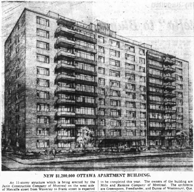 Architects for the Governor Metcalfe were Greenspan, Freedlander, and Dunne: a firm familiar with the Ottawa market. Source: Ottawa Journal, January 22, 1959, p. 31.