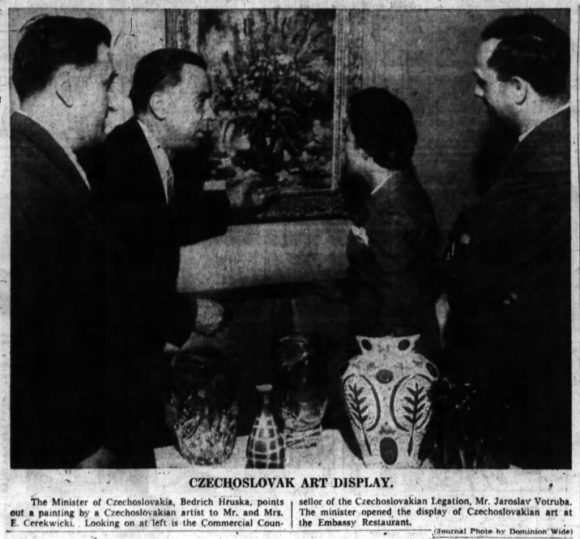 The Embassy's exhibition of international artists continued. Pictured above is the Czechoslovakian exhibit. Source: Ottawa Journal, February 26, 1959, p. 32.