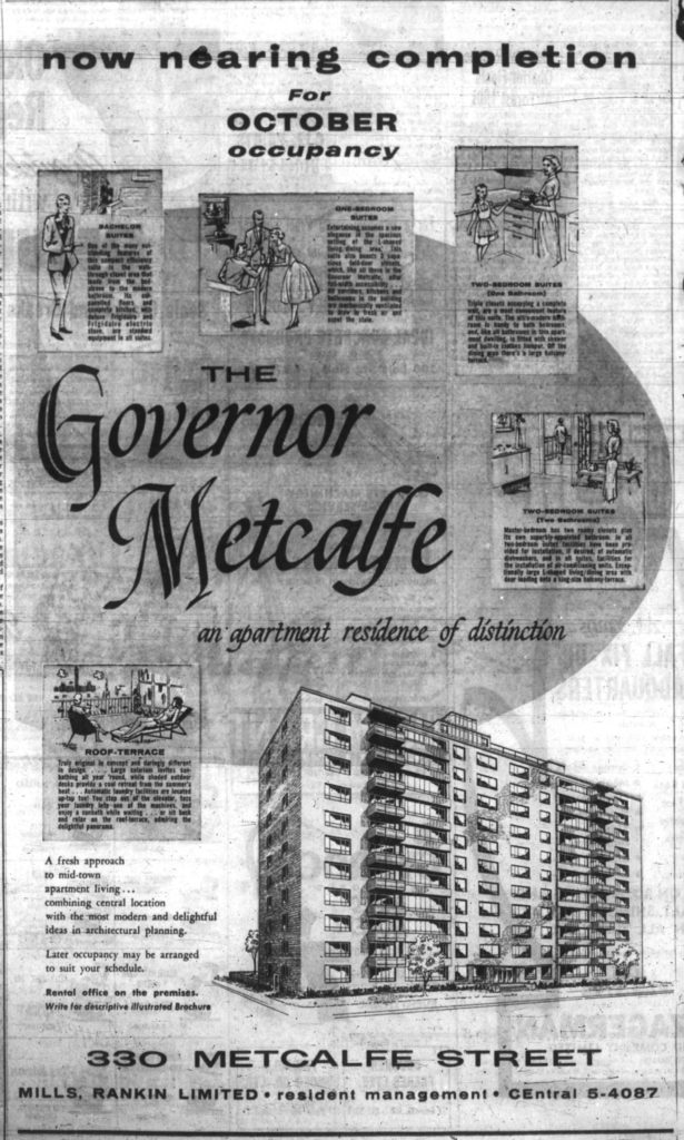 The Governor Metcalfe was ready for occupancy in October 1959. Source: Ottawa Journal, September 11, 1959, p. 15.
