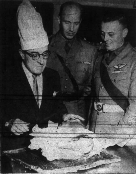 Andrews was frequently seen in the traditional white chef's hat when at industry functions. Source: Ottawa Journal, July 21, 1961, p. 27.