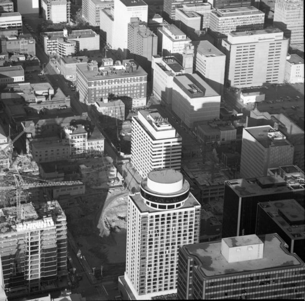 In this photograph, taken in 1974, you can see Stephens Block in its final days. Image: CMHC 1974-1251, Image 2.