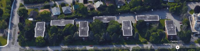 Westwood Park Apartments from above, 2015. Image: Google Maps.