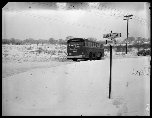 This particular picture has become somewhat emblematic of Ottawa's suburban development. An OTC bus at the corner of Carling and Broadview, February 17, 1954. City of Ottawa Archives, Item CA003246.