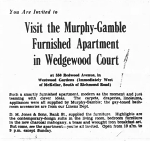 Wedgewood Court's model unit was furnished by Murphy-Gamble. Source: Ottawa Journal, March 12, 1955, p. 15.