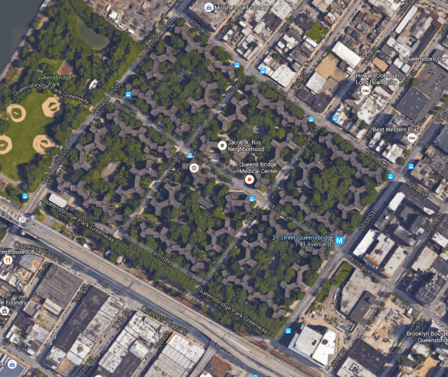 With very few exceptions, Canada had not yet seen an example of housing development like the Queensbridge Houses in New York (1939). Source: Google Maps.