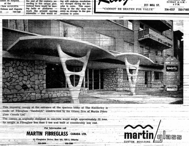 """Fibreglass saves the day! The Kimberly's concrete canopy would have been an unbearable weight. Source: Robert Smythe. """"The Kimberly Does the Googie-Woogie,"""" Urbsite (June 6, 2014): http://urbsite.blogspot.ca/2014/06/the-kimberly-does-googie-woogie.html."""