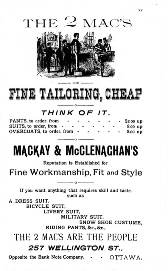 Advertisement for the 2 Macs run in the 1891/92 City Directory. Source: