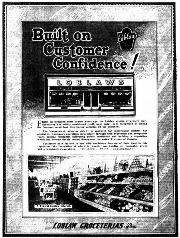 Advertisement for Loblaw's. Source: Ottawa Journal, January 17, 1939, p. 25.