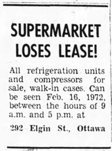 1972 was the end. Source: Ottawa Journal, February 14, 1972, p. 12.