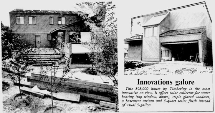 The Timberlay house stole the show for its innovative construction and energy saving techniques. Source: Ottawa Citizen, September 2, 1977, p. 81.