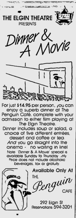 A partnership between The Penguin and the Elgin Theatre was just what the doctor ordered. At least for a little while. Source: Ottawa Citizen, March 7, 1986, p. F18.