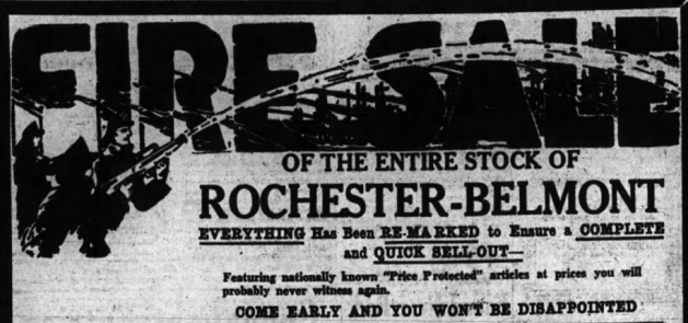 Within weeks, once the damage had been assessed, Continental Salvage ran a fire sale on behalf of Rochester-Belmont. Source: Ottawa Journal, August 19, 1932, p. 2.