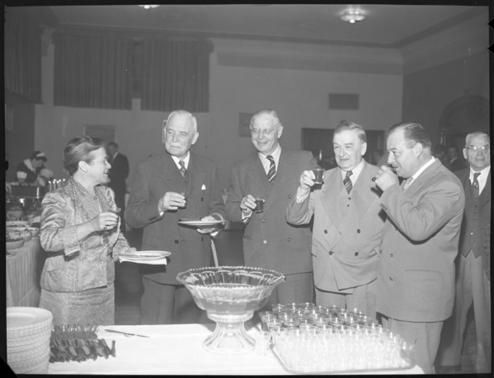 """""""This had better be non-alcoholic punch."""" Charlotte Whitton with a group of premiers, including Leslie Frost, who was a frequent target of Temperance-supporting letters from Charlotte Whitton. Image: City of Ottawa Archives, Item CA034612, October 5, 1955."""