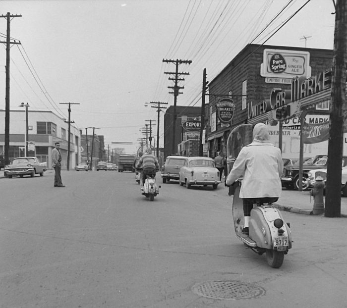 "From the series ""Meter Maids"" (1960), Ted Grant captures some of the action at Bank and Clarey in the Glebe. Image: Ted Grant / LAC Accession 1981-181 NPC Series 60-965A, Image 177."