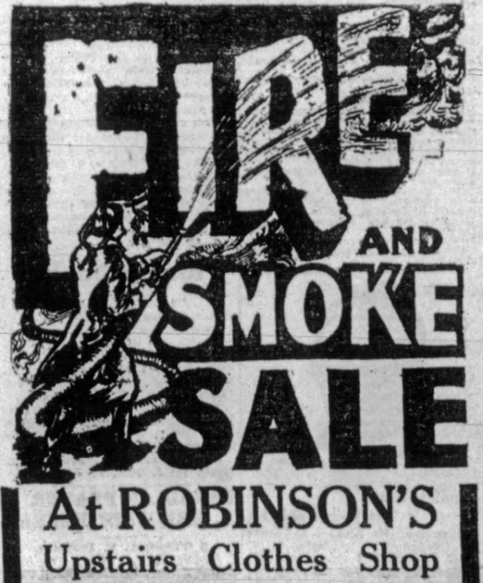 After the fire in March 1926, Robinson's held a large sale on the smoke damaged goods. Source: Ottawa Journal, March 17, 1926, p. 17.