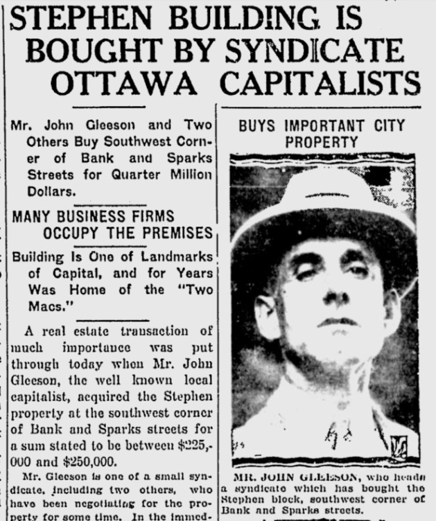 John Gleeson looking particularly enterprising on the front page of the Citizen. Source: Ottawa Citizen, December 17, 1926, p. 1.