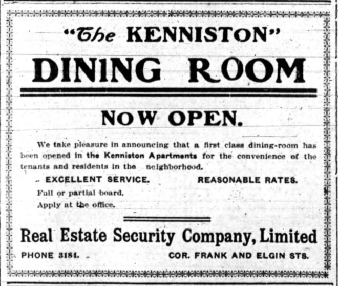 Meals were served at the Kenniston long before the renovation. Source: Ottawa Journal, February 6, 1909, p. 18.