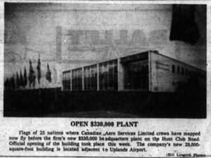 Canadian Aero Services Headquarters, Uplands. Source: Ottawa Journal, October 13, 1962, p. 43.