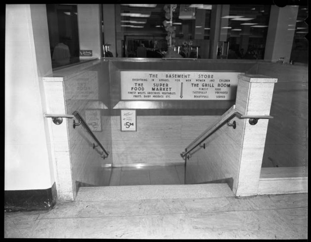 The way down to the Steinberg's inside of Freiman's on Rideau, June 9, 1954. Image: City of Ottawa Archives CA004548.
