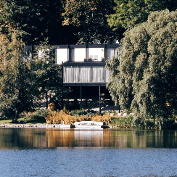 Hart Massey's home, from across McKay Lake. Image: June 2014.