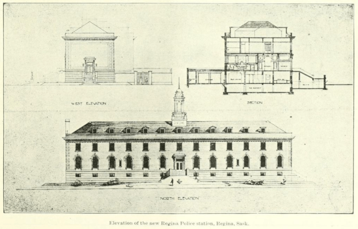 To Police Chief Ross, Ottawa deserved a police headquarters at least as commodious as the one under construction in Regina. Source: The Canadian Builder and Carpenter, October 1914, Page 23.