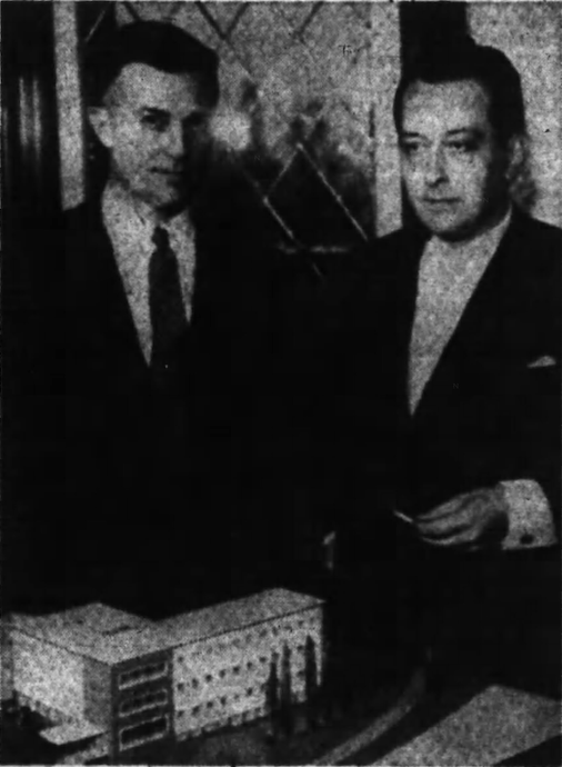 Tarnowski and H.F. Noltensmeyer in 1956. The German Chancellery in the Golden Triangle was designed by Noltensmeyer in cooperation with Tarnowski. Source: Ottawa Journal, March 23, 1956, p. 15.
