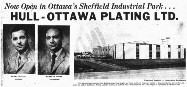 Zourdoumis was the structural engineer on the Douglas and Ross-designed Hull-Ottawa Plating facility on Sheffield Road. Source: Ottawa Journal, December 16, 1968, p. 11.