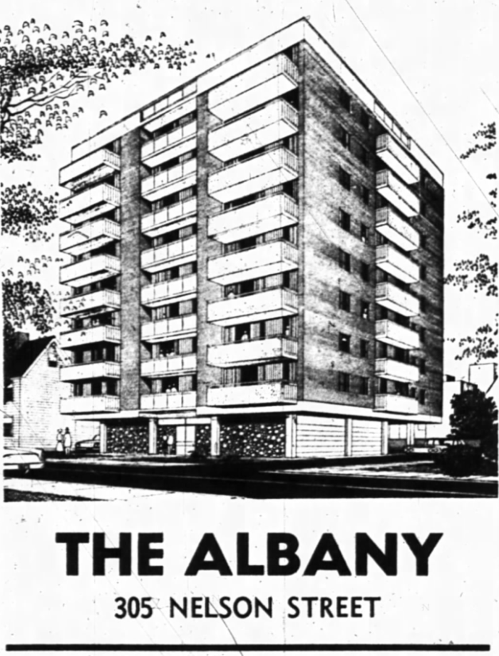 Dubbed the Albany Apartments, occupancy was to begin in the Spring of 1966. Source: Ottawa Journal, March 31, 1966, p. 31.