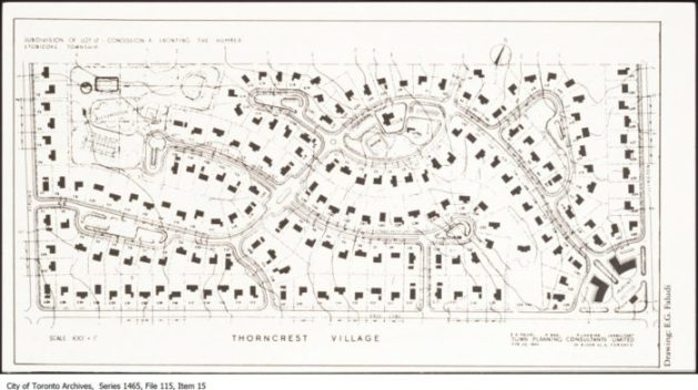 Faludi's plan for Thorncrest Village. Note the shopping centre at the bottom right. Source: City of Toronto Archives, Series 1465, File 115, Item 15.