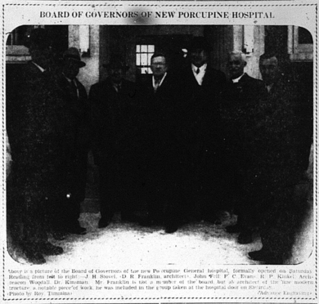 The new Porcupine General Hospital was opened on February 12, 1938. Source: Porcupine Advance, February 14, 1938, p. 1.