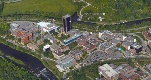 Carleton's campus as it appeared in 2015. Image: Google Maps.