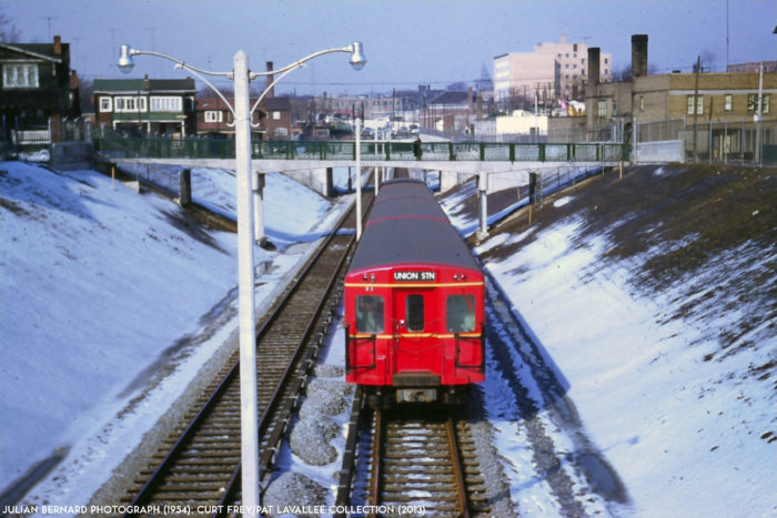 A red Gloucester series south of Eglinton, 1955. Image: Julian Bernard (1954); Curt Frey/Pat Lavalee Collection.