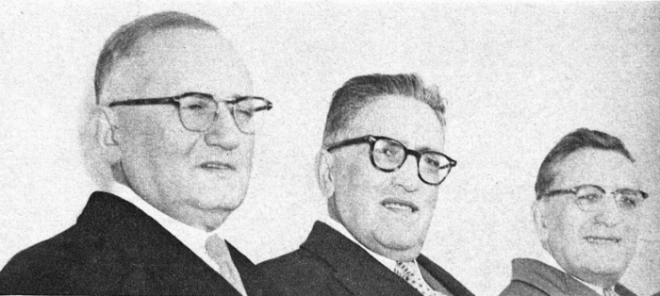 Archibald, David, and Jacob Bennett, better known by their company Principal Investments, were already active in Ottawa before they became Canada's shopping mall kings. Image: Maclean's Magazine, February 4, 1956, p. 9.