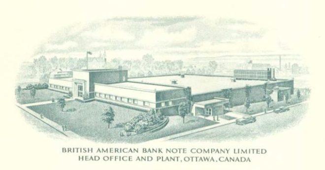 "Vignette of the British American Banknote Company's Gladstone Avenue facility. Source: British American Banknote Company. ""90 Years of Security Printing: The story of the British American Bank Note Company Limited, 1866-1956."""