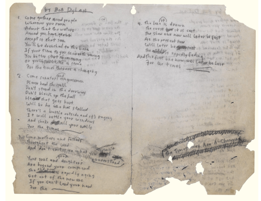 """The original manuscript of """"The Times They Are a-Changin'"""" by Bob Dylan from 1964 (Image: historyofinformation.com)"""