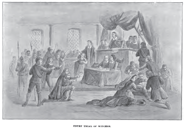 """Court Trial of Witches,"" illustration by unknown artist, published in ""Witchcraft Illustrated"" by Henrietta D Kimball, circa 1892"